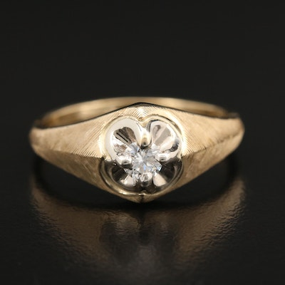 14K Gold 0.25 CT Diamond Belcher Ring with Textured Accents