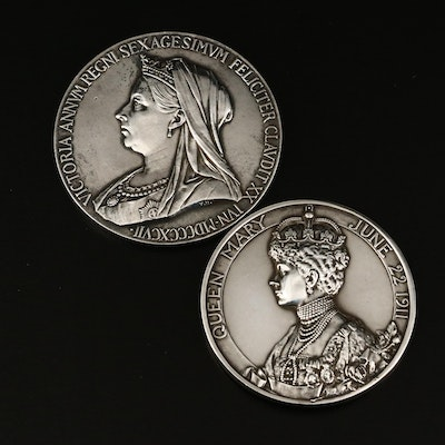 Queen Victoria Diamond Jubilee and King George V Coronation Silver Medallions
