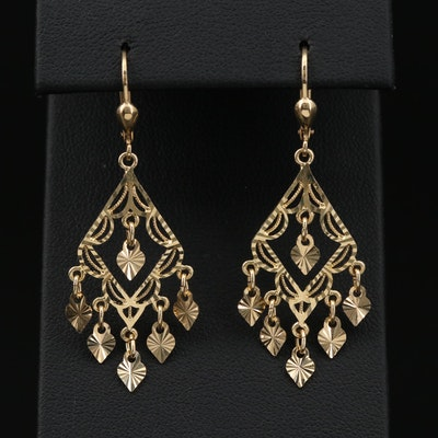 14K Yellow Gold Textured Chandelier Earrings
