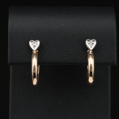 14K Yellow Gold Diamond Heart Hoop Earrings
