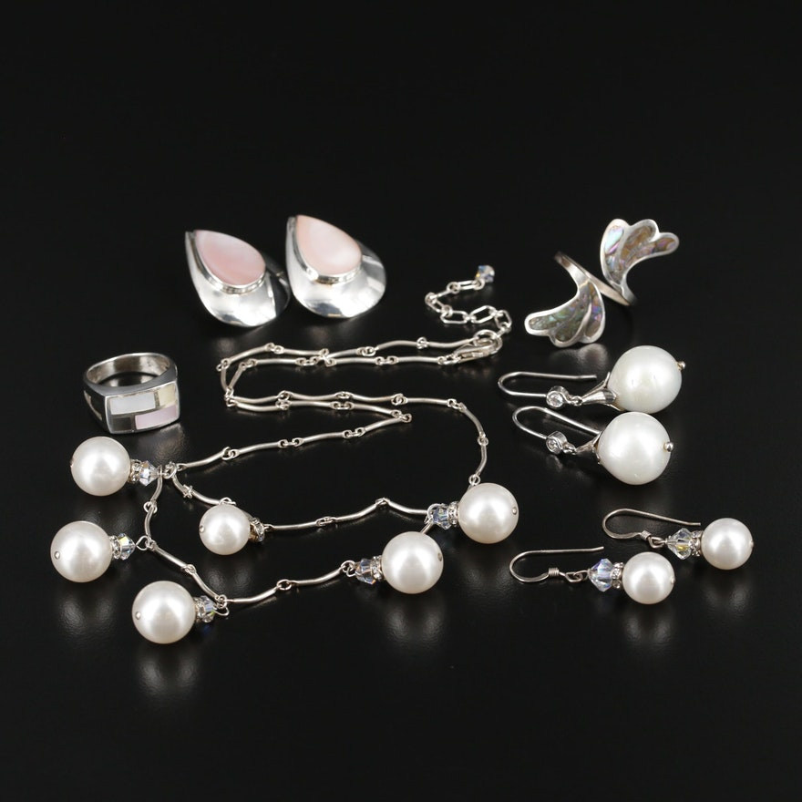 Sterling Silver Jewelry with Cultured Pearl, Abalone and Imitation Pearl