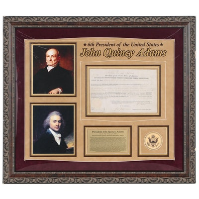 John Quincy Adams Document Signed Mississippi & Alabama Land Grant, 1825