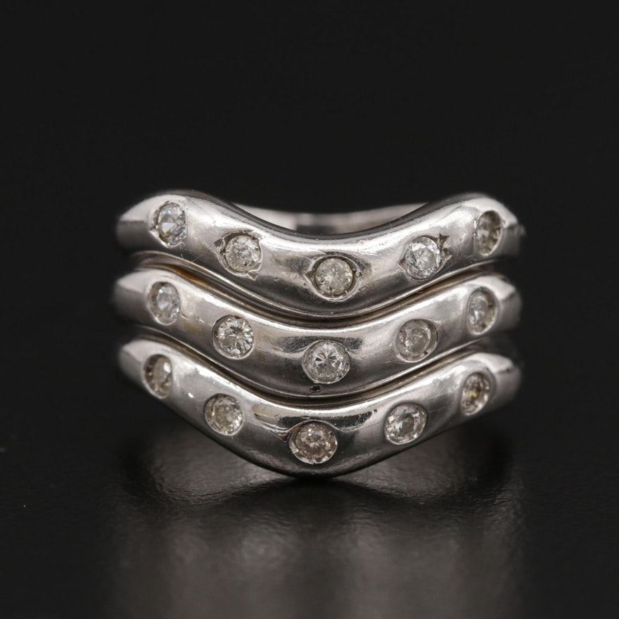 Sterling Silver Diamond Stacking Rings Including Cubic Zirconia