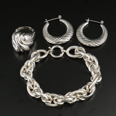 Sterling Silver Ring and Link Bracelet With Hoop Earrings