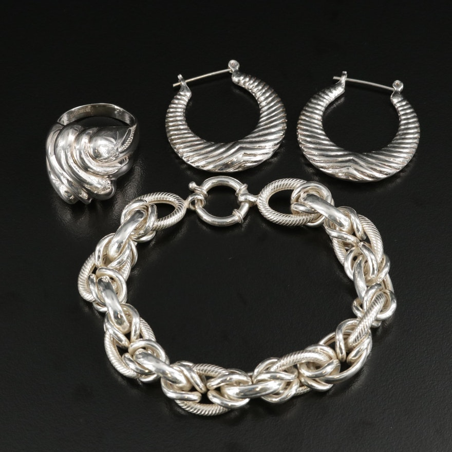 Sterling Silver Ring and Link Bracelet With Hoop Earrings