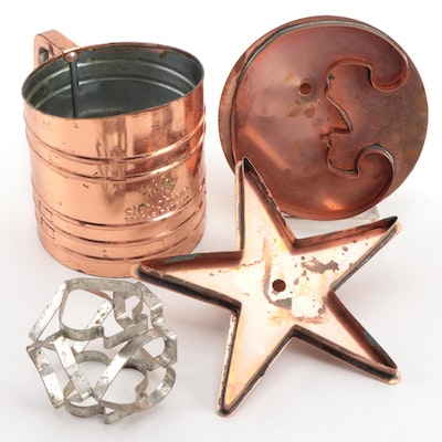 Foley Triple Screen Copper Sugar Sifter with Star and Moon Baking Molds and More