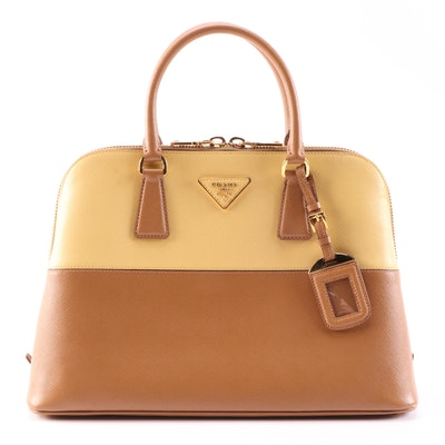 Prada Promenade Medium Bag in Bicolor Saffiano Leather