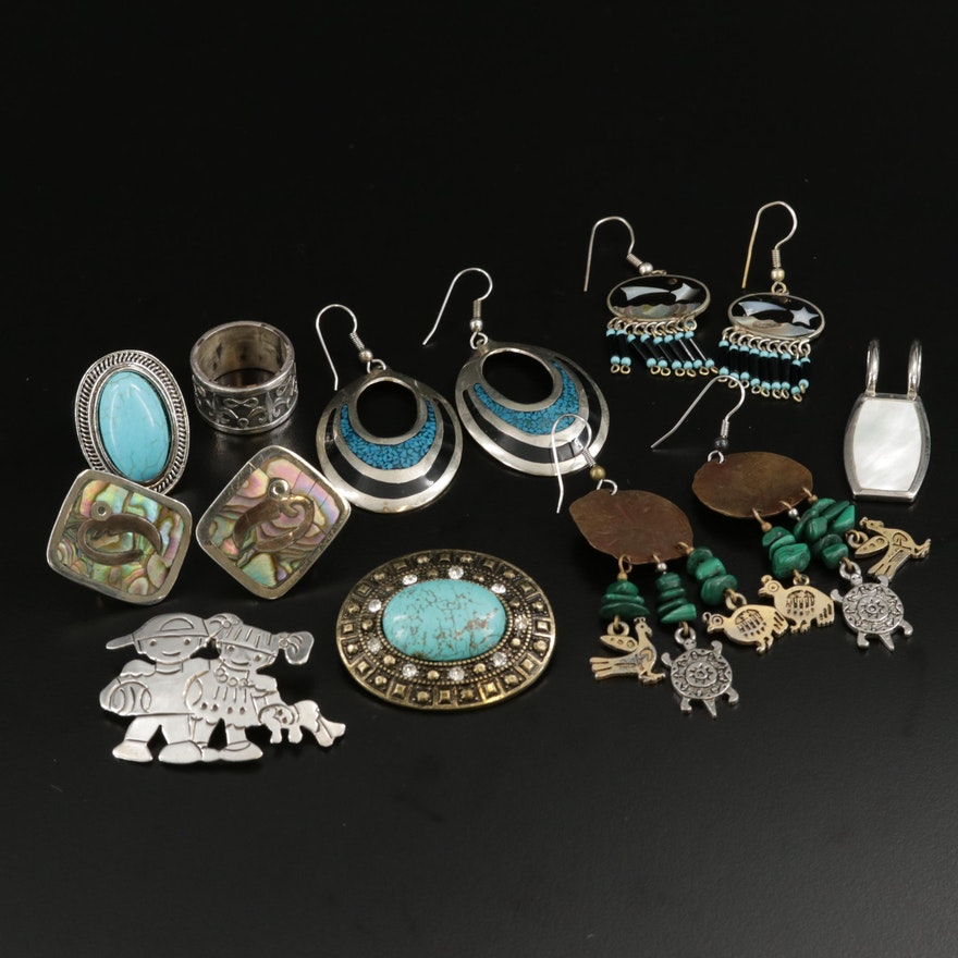 Vintage Jewelry Assortment Featuring Sterling Silver and Gemstone Accents