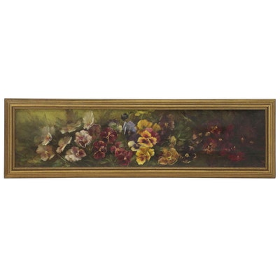 Still Life with Pansies Oil Painting, 19th Century