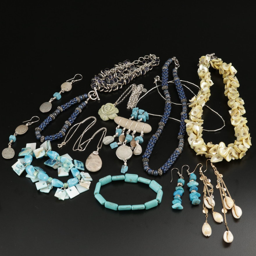 Beaded Jewelry Selection Featuring Fossilized Coral, Shell, and Glass