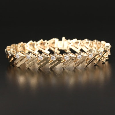 14K Gold 2.30 CTW Diamond Geometric Link Bracelet
