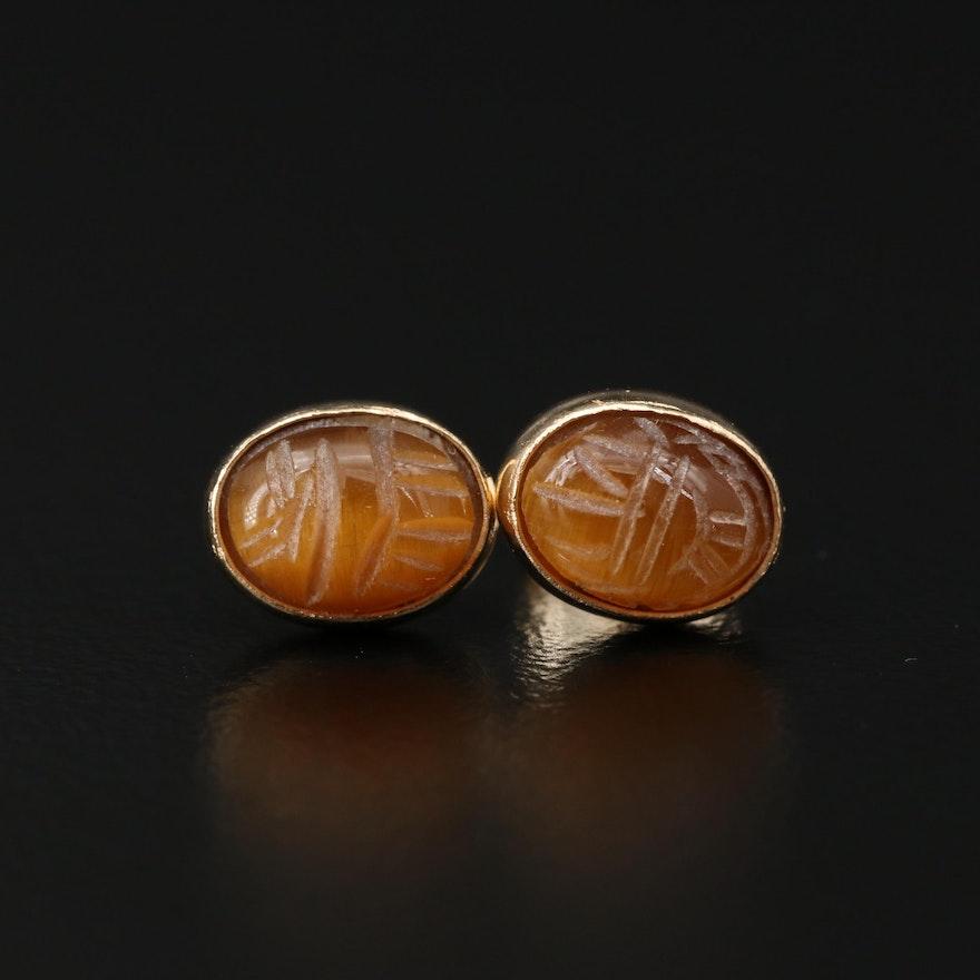 14K Gold Tiger's Eye Scarab Stud Earrings