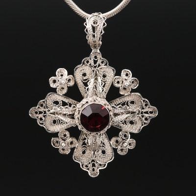 Sterling Silver Filigree and Glass Jerusalem Cross Pendant Necklace