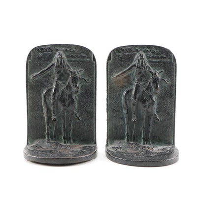"""""""Appeal to the Great Spirit"""" Cast Bronze Bookends, Early 20th Century"""