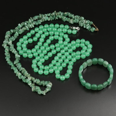 Beaded Quench Crackled Quartz and Aventurine Necklaces and Bracelets