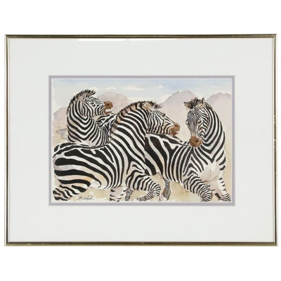 "Charles Burdick Watercolor Painting ""Three Zebras"""
