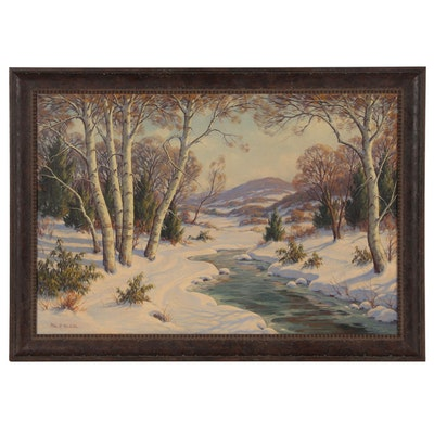 William R. Webster Oil Painting of Winter Landscape, Mid-20th Century