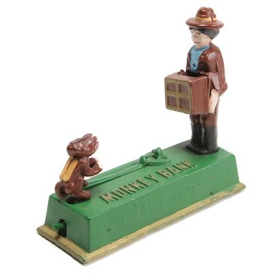 Monkey and Organ Grinder Polychrome Painted Cast Iron Mechanical Bank