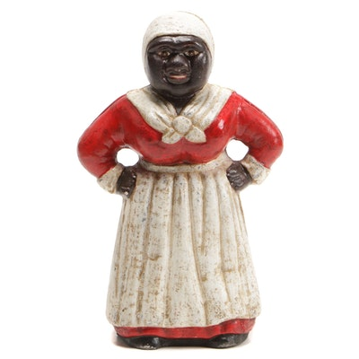 Polychrome Painted Black Americana Cast Iron Still Bank