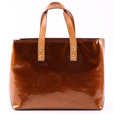 Louis Vuitton Reade PM Mini Tote in Bronze Monogram Vernis and Vachetta Leather