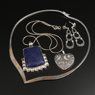 Sterling Silver Jewelry Selection Featuring Marcasite and Mother of Pearl