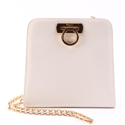 Salvatore Ferragamo White Leather Shoulder Bag with Chain Link Strap