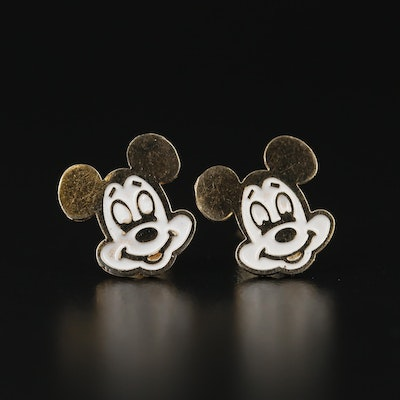 10K Yellow Gold Mouse Stud Earrings