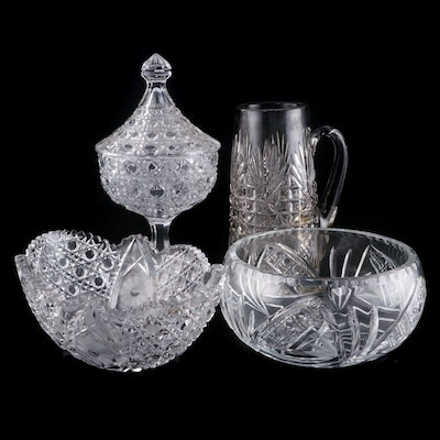 Polish Crystal Round Fruit Bowl with Other Table Accessories