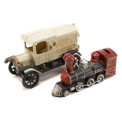 Coca-Cola Old Tyme Cast Iron Delivery Truck and Locomotive Train Still Bank