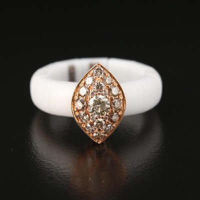 Roberto Demeglio 18K Gold and Ceramic Diamond Expandable Ring