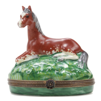 La Gloriette Hand-Painted Appaloosa Pony Porcelain Limoges Box