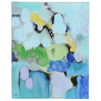 Lee Hafer Abstract Embellished Acrylic Painting