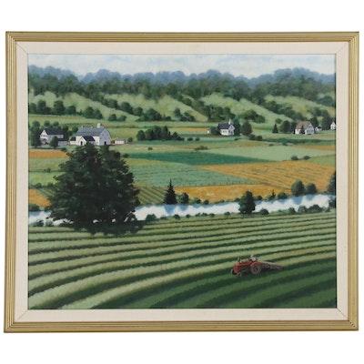 Rebecca Barker Farm Landscape Acrylic Folk Painting, 1994