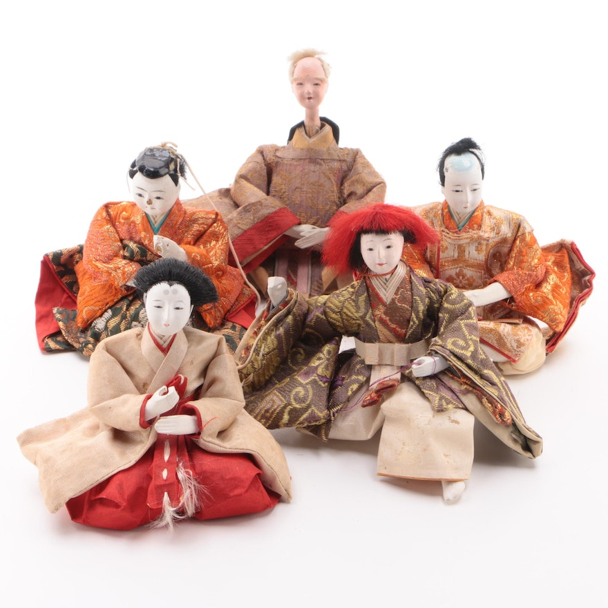 Japanese Hina Gofun Dolls, Early/Mid-20th Century