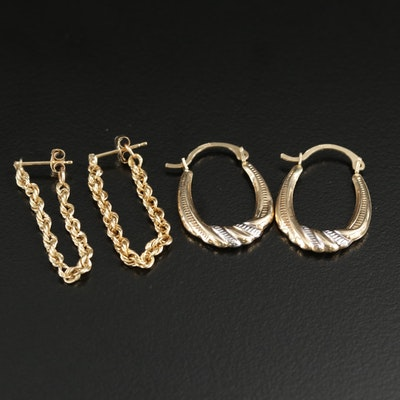 14K Yellow Gold Hoop and Rope Chain Earrings
