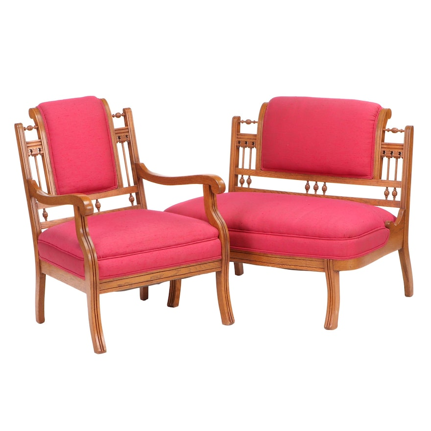 Aesthetic Movement Upholstered Settee and Arm Chair, Late 19th Century