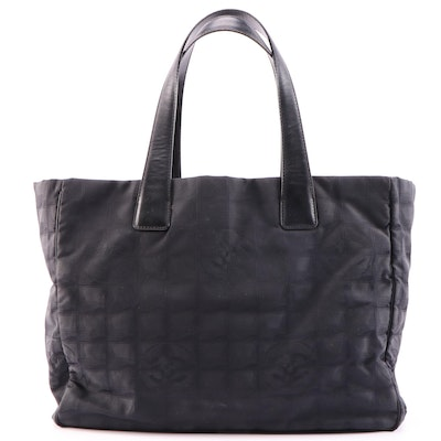 Chanel Travel Line Black Jacquard Tote Bag with Leather Trim