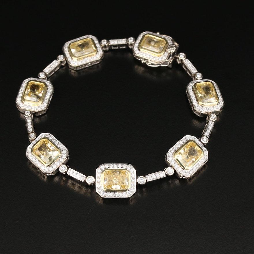 18K Gold Cubic Zirconia and 2.81 CTW Diamond Bracelet