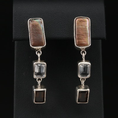 Echo of the Dreamer Sterling Pearl, Smoky Quartz and Topaz Dangle Earrings