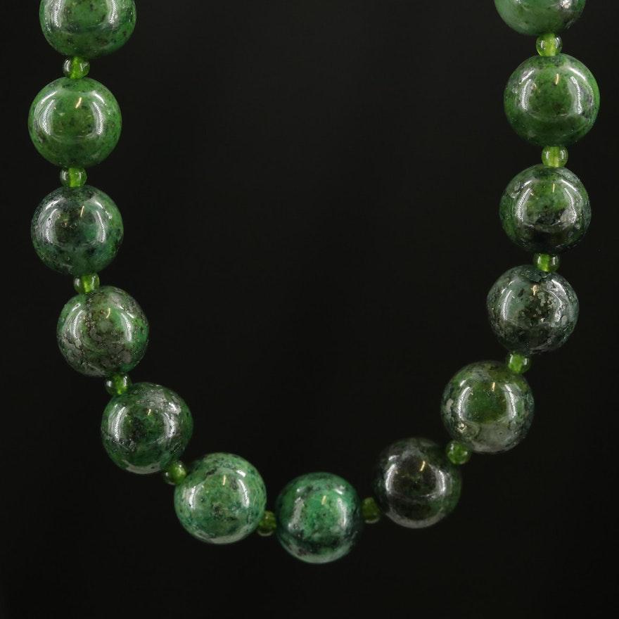 Quartzite and Quartz Necklace with 14K Clasp