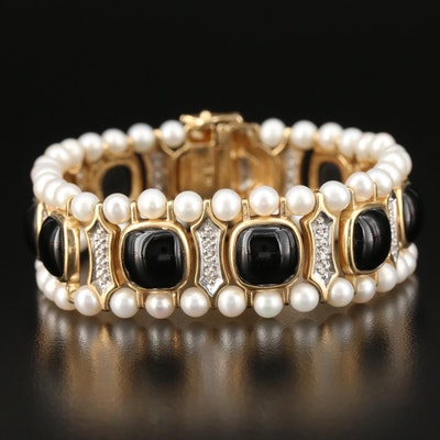 14K Gold Black Onyx, Pearl and Diamond Bracelet