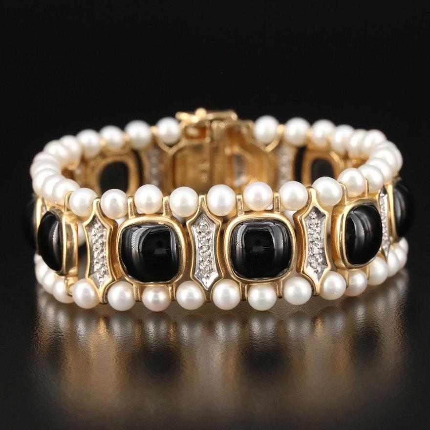 14K Gold Black Onyx, Pearl and Diamond Bracelet