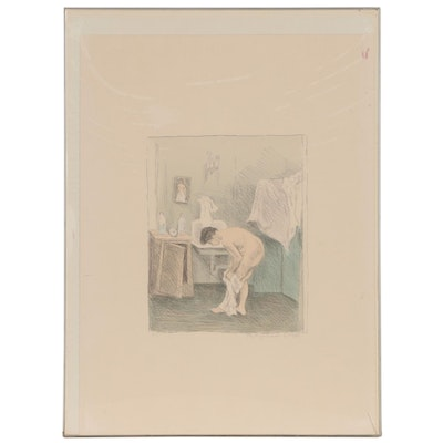 """Raphael Soyer Lithograph """"After the Bath"""""""