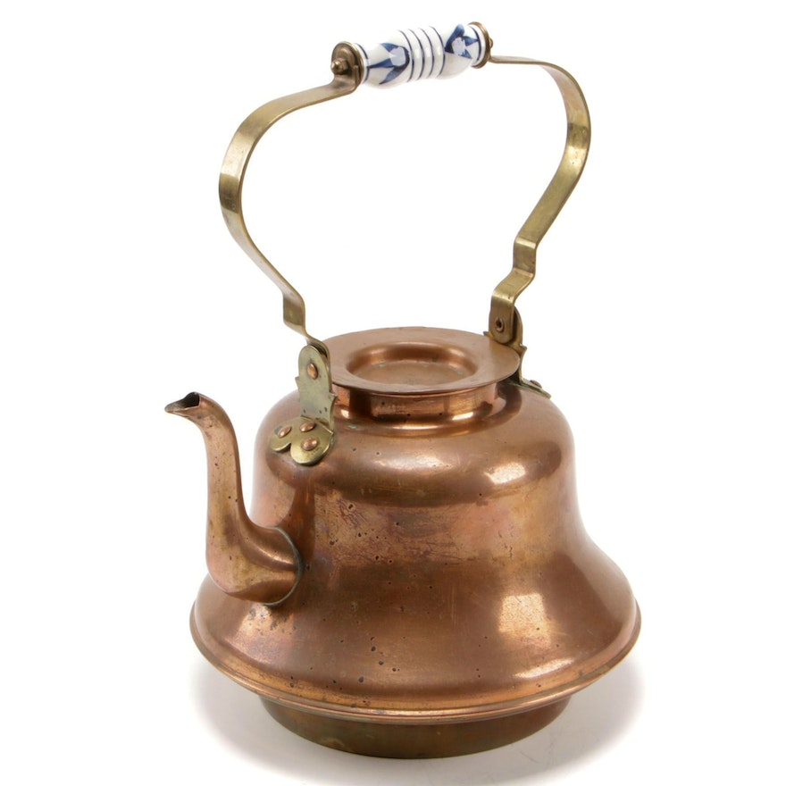 Copper and Brass Tea Kettle with Ceramic Handle