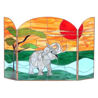 Elephant Slag Glass Folding Fireplace Screen, Late 20th Century