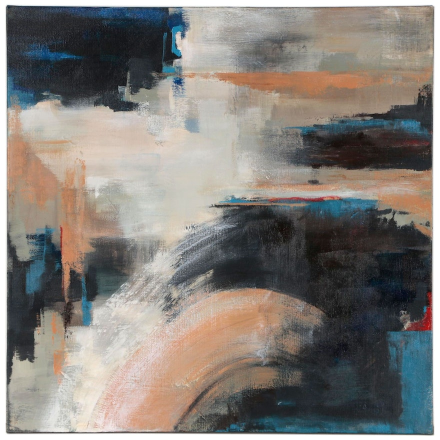 """Sanna Abstract Acrylic Painting """"Cloudy Afternoon"""""""