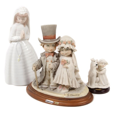 "Nao by Lladró ""Girl Praying"" and Giuseppe Armani Capodimonte Porcelain Figurines"