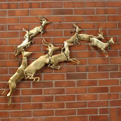 Brass Leaping Antelopes Wall Sculpture