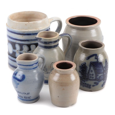 Glazed Stoneware Mug, Creamers and Vases, Late 20th Century