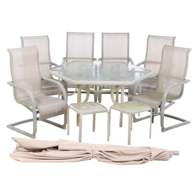 Glass Top Metal Patio Dining Set with Umbrella and Side Tables